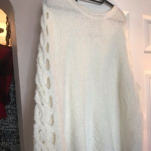 Cream colored  plus size sweater - Lattice Sleeve
